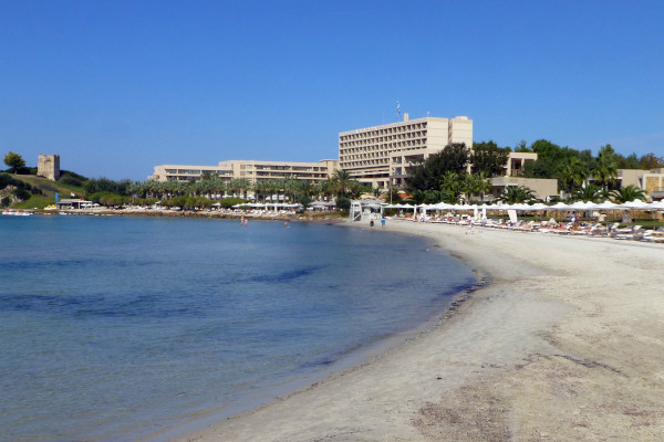 The sandy beach of Sani Resort and the hotel facilities.