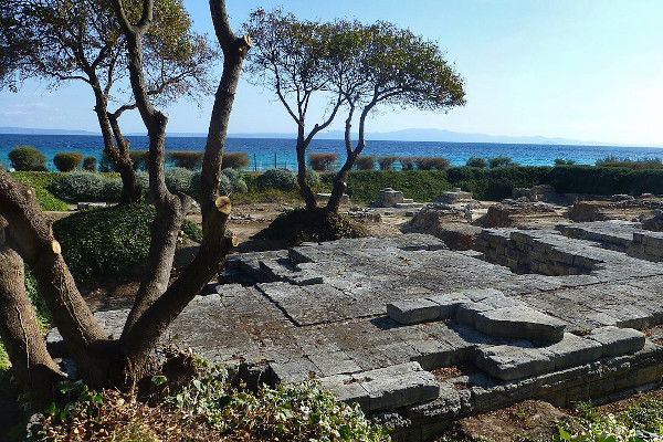 The relics of the Temple of Ammon Zeus in Kallithea, Halkidiki.