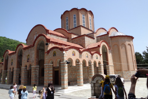 The church of Panagia Soumela at Kastania, Imathia with some guests at the yard.