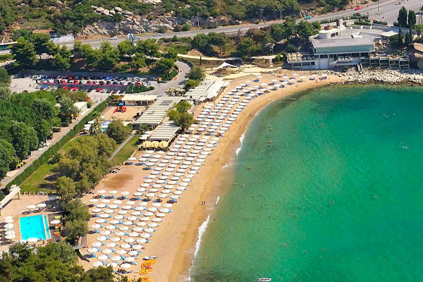 A aerial photo of the Batis Multi-complex including the Batis Beach at the city of Kavala.