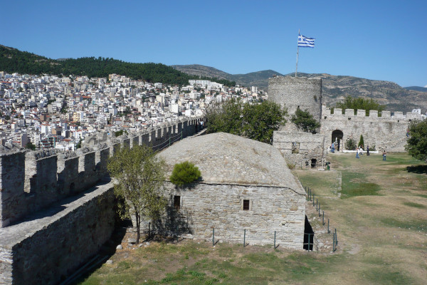Photo taken from the inner part of the Castle of Kavala, depicting the fortifications, as well as a part of the city.