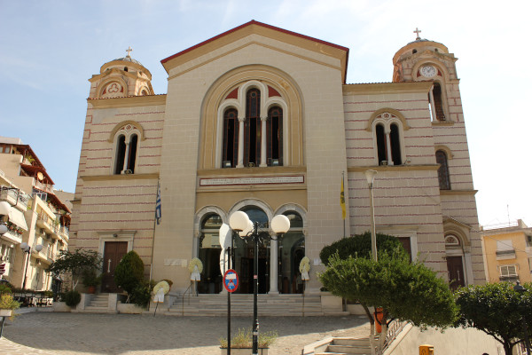 The front and the main entrance of St. Paul's church of Kavala.