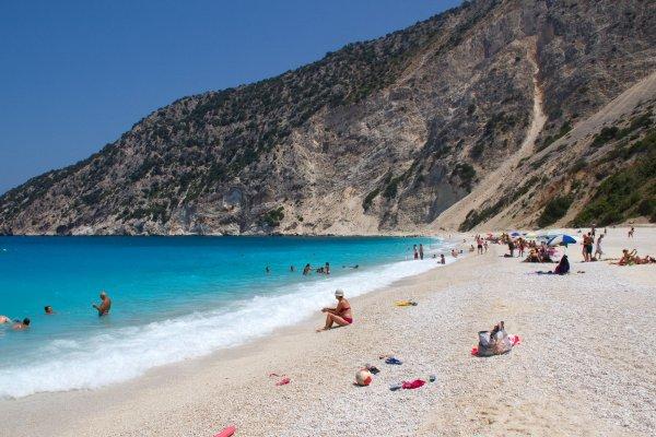 An overview of the Myrtos Beach on Kefalonia island.