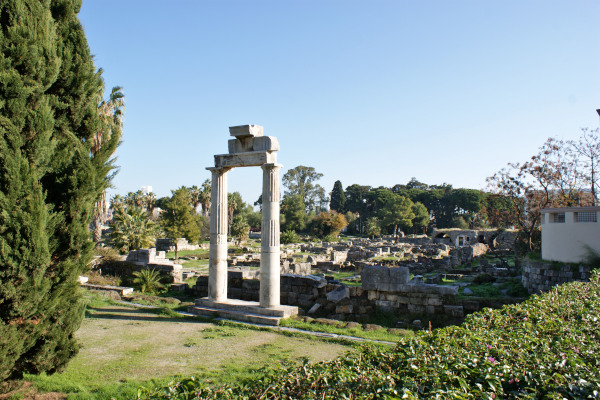 A picture of the remains of the Ancient Agora of Kos.