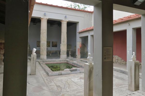 The inner yard of the reconstructed Roman villa «Casa Romana» in Kos town on the island of Kos.