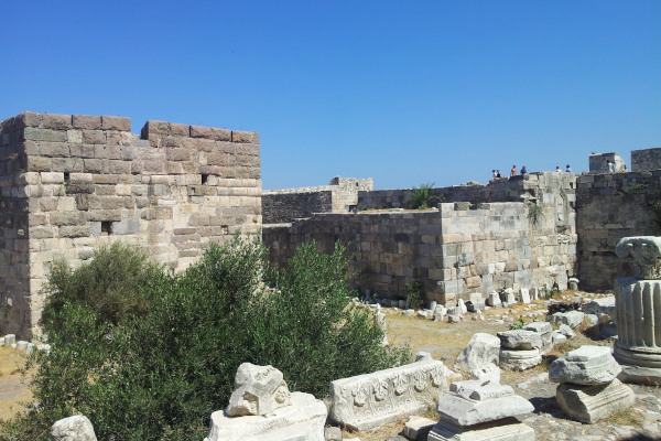 A picture showing some of the remains and the walls of the Neratzia Castle at the port of Kos Island.