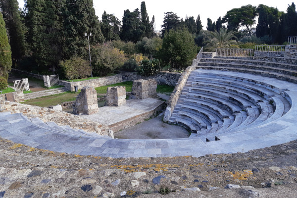 An overview of the Roman Odeon of the city of Kos.
