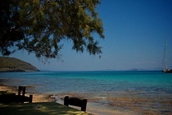 the Diakofti Beach on Kythira island, on a photo taken by the nearby taverna.