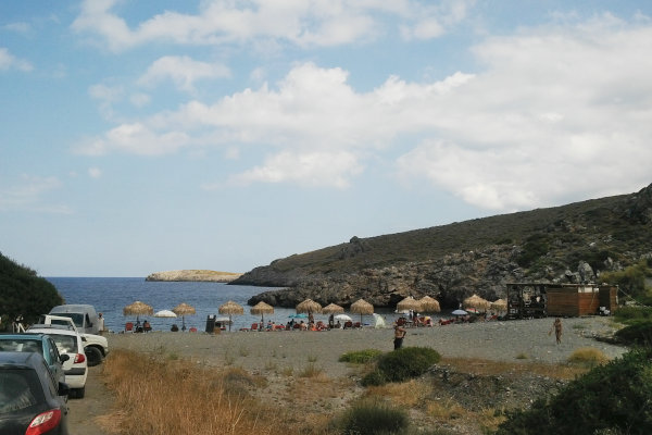 A picture showing a part of the parking place and the beach of Fourni on the island of Kythira.