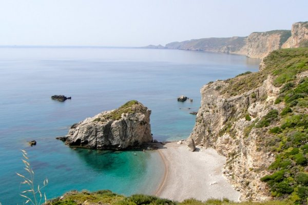 A panoramic picture showing one part of the Kaladi Beach of Kythira island.