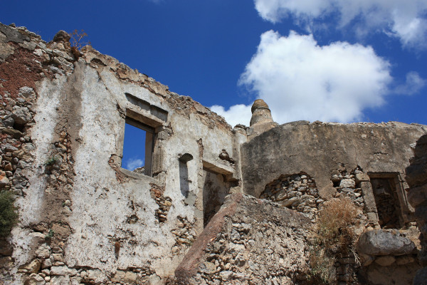 Remains of an old house in the village of Mylopotamos on Kythira island.