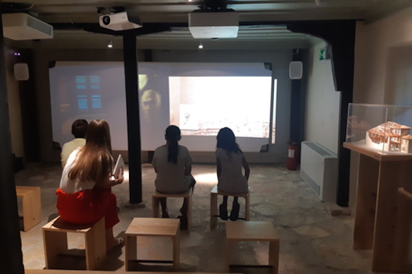 Guests of the Angelos Sikelianos Museum in Lefkada are watching a video dedicated to the life of the poet.