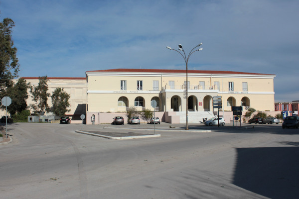 The exterior of the building that hosts the Archaeological Museum of Lefkada.
