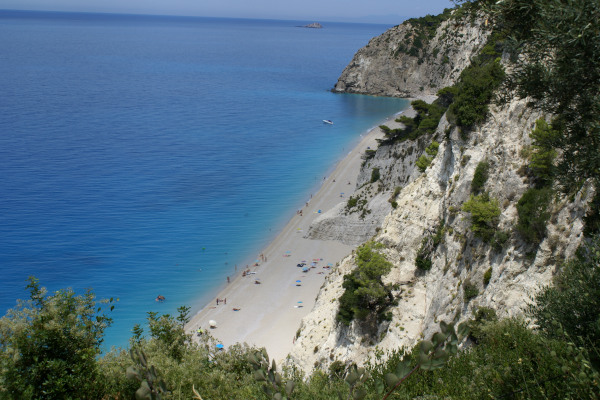 A panoramic picture showing the Egremni Beach of Lefkada and the steep cliffs next to it.