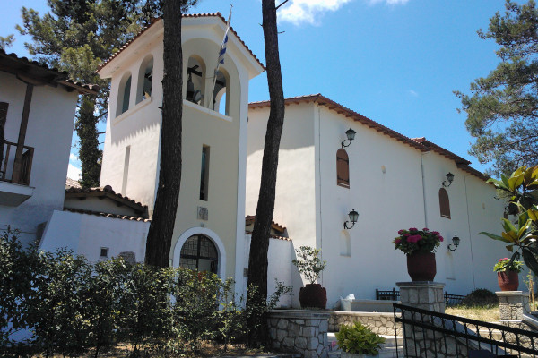 A picture showing the belfry and other facilities of the Faneromeni Monastery at the area of Frini on Lefkada.