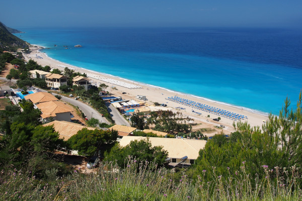 A panoramic picture showing a part of the Kathisma Beach on the island of Lefkada.
