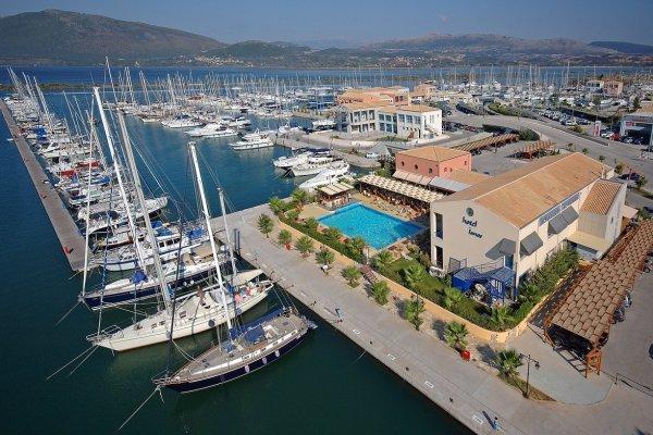 An aerial panoramic photo of the Marina of Lefkada city.