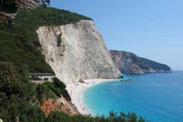 An overview of the Porto Katsiki Beach on the island of Lefkada.