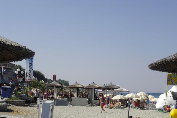 The facilities of a beach bar at the beach of Leptokarya.