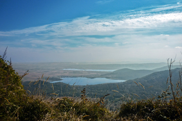 An overview of the lakes Chimaditida and Zazari from a spot very close to Nymfaio village.