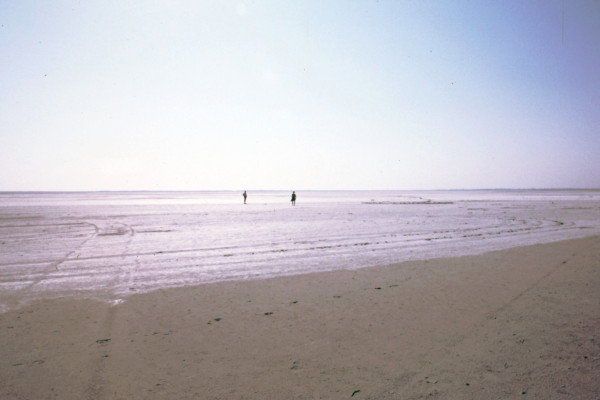 A photo showing two people at the vast Aliki Salt Lagoon of Lemnos island.