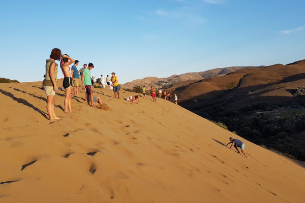 A group of people at the area of Ammothines (Sand Dunes) of Lemnos.
