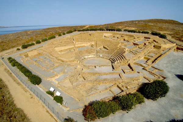 An aerial photo showing the remains of the Archaeological Site of Ancient Ifestia on Lemnos island.
