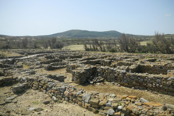 A photo of the remains at the Archaeological Site of Poliochni on the island of Lemnos.