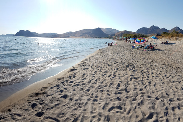 A picture showing the beach of Evgatis on Lemnos island.