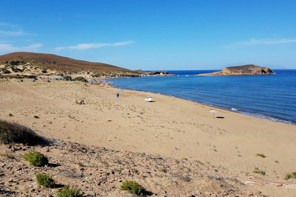An overview showing the vast beach of Gomati on Lemnos island.