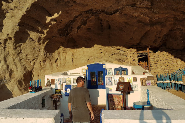 A photo showing the roofless chapel Panagia Kakaviotissa on Limnos island.
