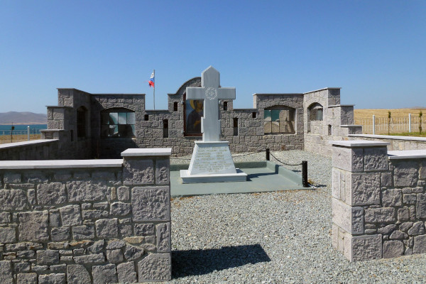 A picture showing the monument at the Old Russian Cemetery of Nea Koutali on Lemnos island.
