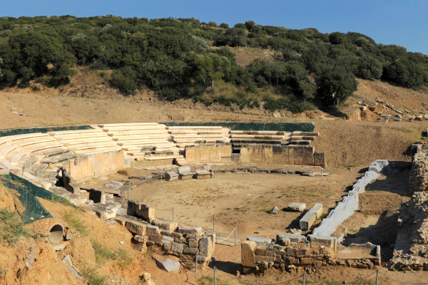 A panoramic picture showing the ancient theater of Maronia.