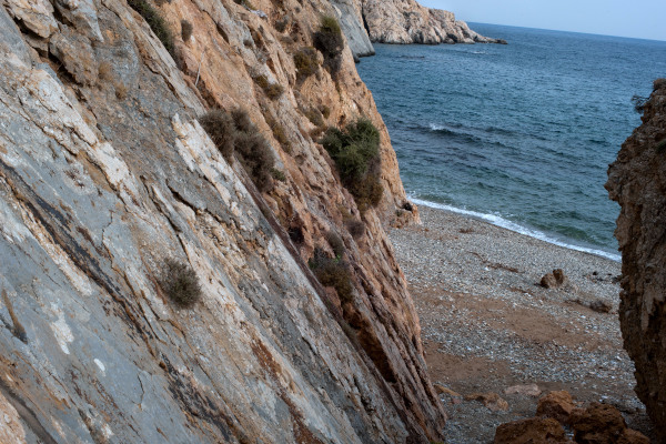 A part of the Marmaritsa beach at Rhodope among the steep cliffs of the area.
