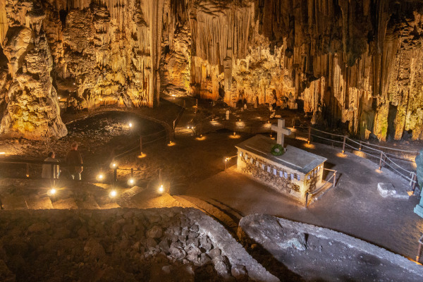 A panoramic picture of the interior of the Melidoni Cave on the island of Crete.