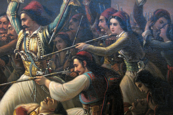 Detail from the painting «The Exodus from Missolonghi» (1853) - Theodoros Vryzakis