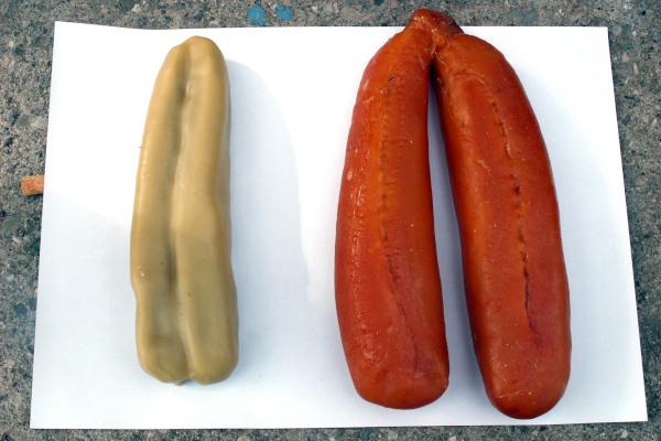 A picture showing the Roe Caviar of Mesolongi (Avgotaracho) after and before the preservation process.
