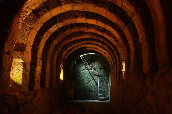 A dark corridor in the Necromanteion Acheron (Oracle of the Dead) in Mesopotamos.