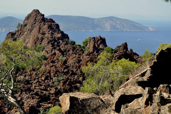 A photo of a huge igneous rock on top of the volcano in Methana.