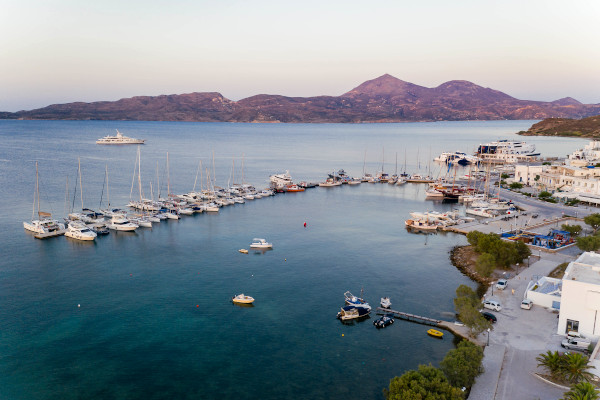 An overview of Adamantas, the main port of the island of Milos.