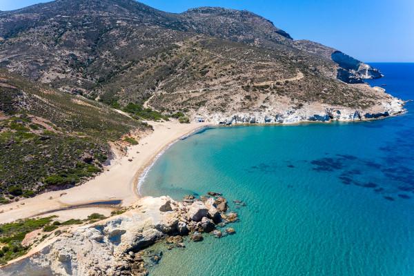 An aerial photo of the beach of Agios Ioannis on the island of Milos.