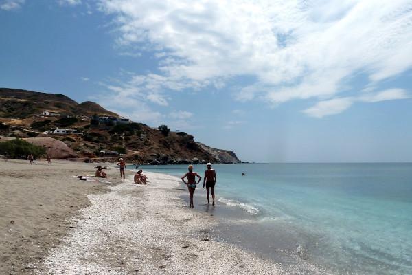 A bunch of people at the beach Agia Kiriaki on Milos island.