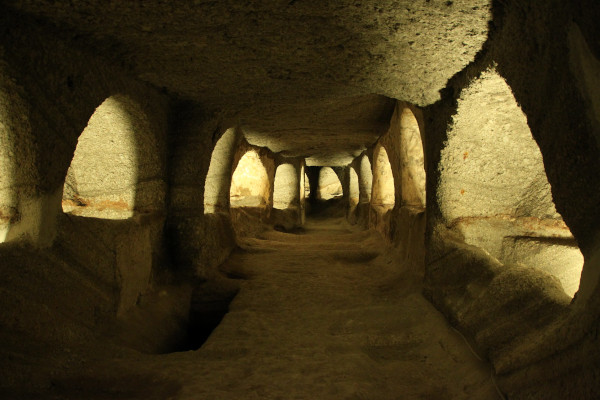 A picture of the Catacombs near the village Tripiti of the island of Milos.