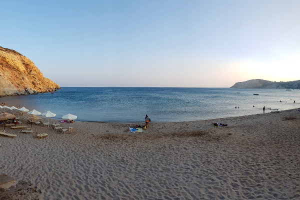 A picture showing a part of the Provatas Beach on the island of Milos.