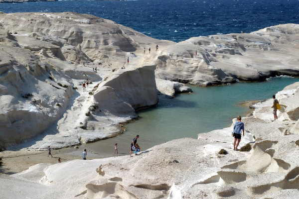 An overview of the Sarakiniko Beach on Milos island.