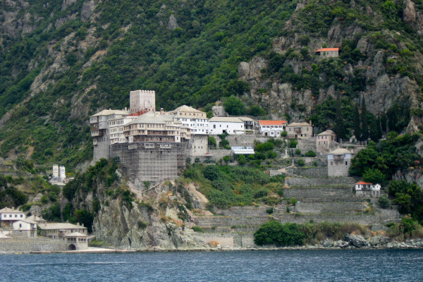 A picture of Dionysiou from the sea depicting the architecture of the monastery facilities that were built on the rock.