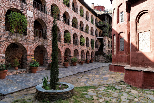 The inner yard of Koutloumousiou Monastery including a part of the main church and the surrounding facilities.