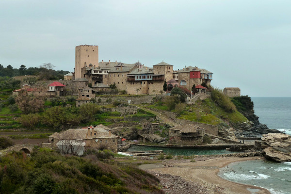 The Monastery of Pantokratoros with other supportive facilities as it is built by the coastline.