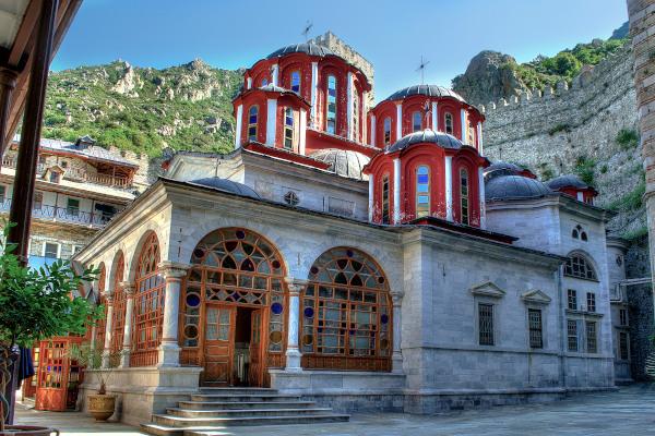 The main church (katholiko) in the inner yard of Agiou Pavlou Monastery.
