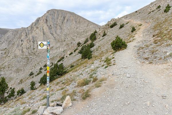 The international walking path E4 surrounded by the alpine landscape of Mount Olympus.